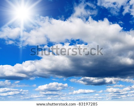 Blue Heavens Sunshine Happiness - stock photo