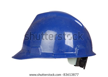 Blue helmet isolated on a over white background - stock photo