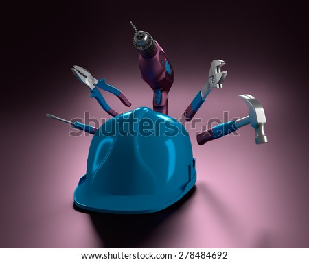 blue helmet with a drill, hammer, pliers and construction tools on purple background - stock photo