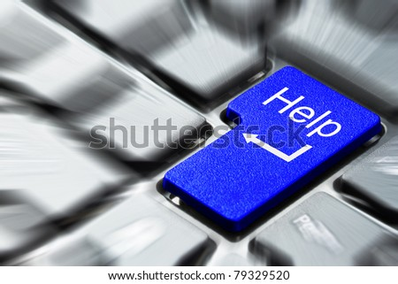 Blue help button on the keyboard - stock photo