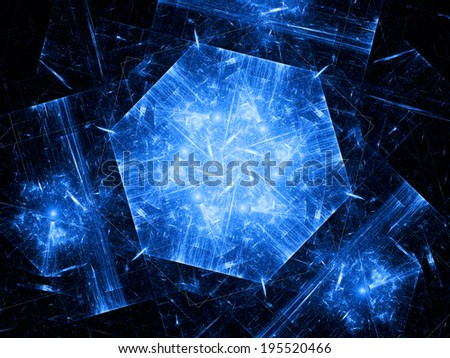 Blue hexagonal object, nanotechnology - stock photo