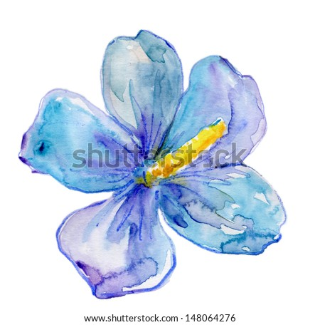 Blue Hibiscus flower,watercolor painting - stock photo