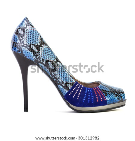 Blue high heel women shoe isolated on white background