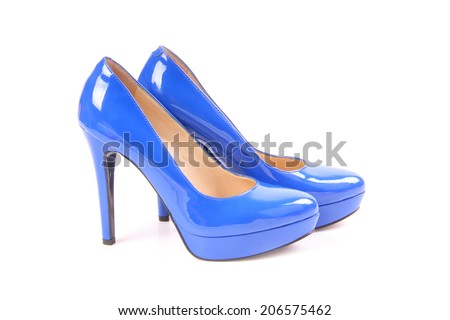 Blue high heels shoes with platform sole - stock photo