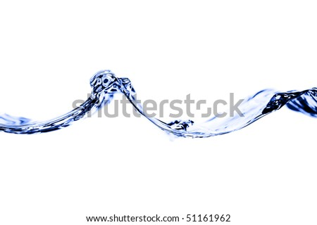 Blue highlighted waves of flowing water shot against a brightly lit white background. Horizontal shot.