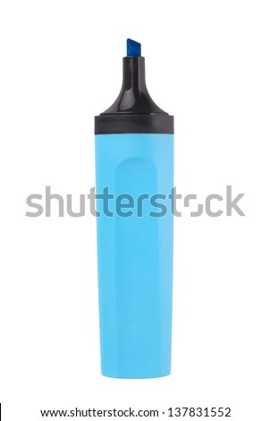 Blue highlighter. Isolated on white background - stock photo