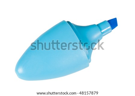 Blue Highlighter Pen on White Isolated Background
