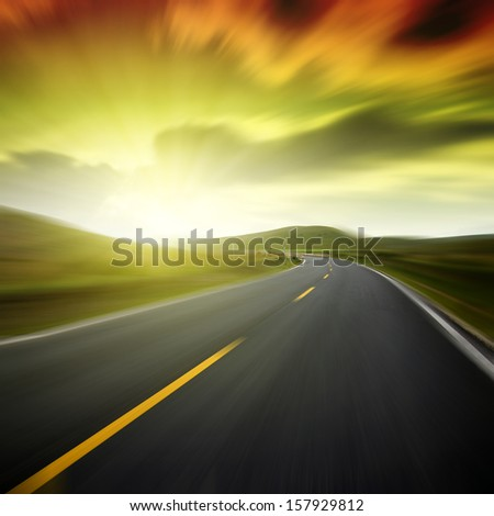 Blue Highway - stock photo