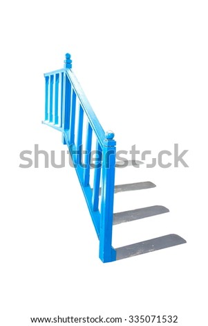 Blue Holder handrail railing wood  isolated - stock photo