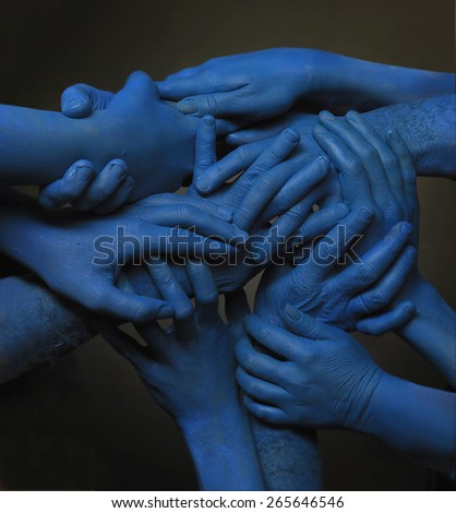 Blue holding hands. composition - stock photo