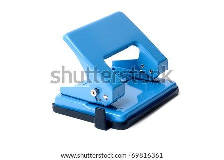 Blue hole puncher on a white background - stock photo