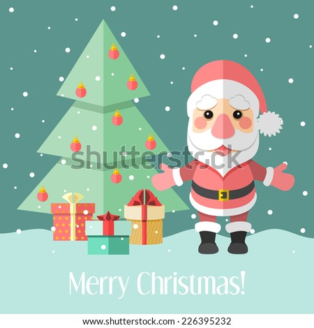 Blue holiday Christmas card with fir tree and Santa Claus and gifts - stock photo