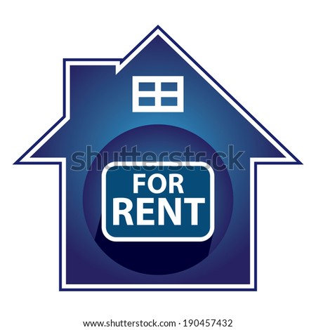 Blue Home For Rent Sign, Icon, Sticker or Label Isolated on White Background - stock photo