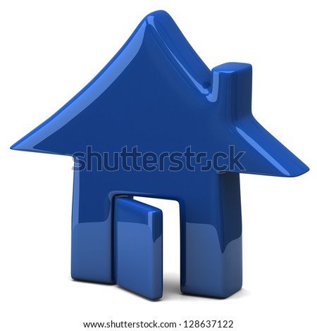 Blue home icon, 3d image - stock photo