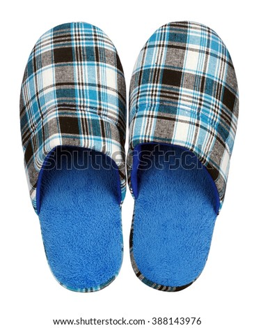 Blue Home slippers isolated on white background - stock photo
