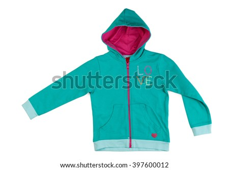 """Blue hoodie with the word """"love."""" Isolate on white. - stock photo"""