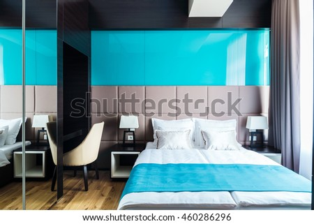 Blue hotel room