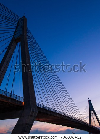 Blue hour after sunset view of Anzac Bridge.