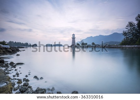 Blue Hour at coastal beach in Langkawi Island, Kedah, Malaysia. - stock photo