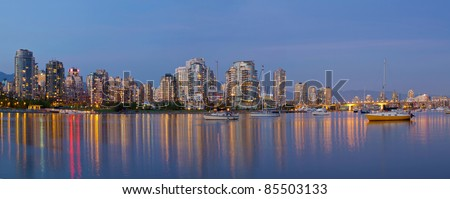 Blue Hour at False Creek in Vancouver BC Canada Panorama
