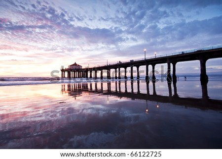 Blue Hour Glass at the Manhattan Beach Pier Wide Angle - stock photo