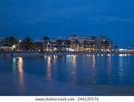 Blue hour in Mallorca with table out of focus in the foreground. blurred - stock photo
