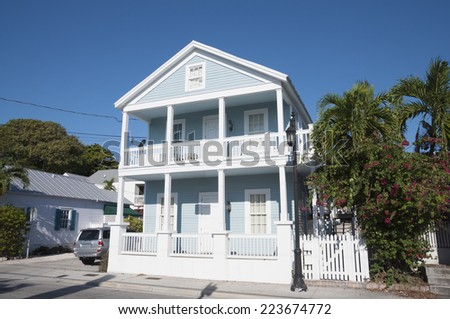 Blue house in Key West, Florida, USA - stock photo