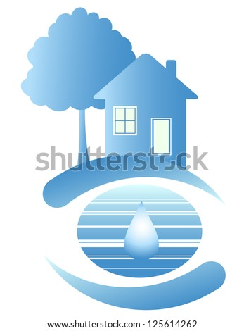 Blue house on the clean planet and drop of water - stock photo