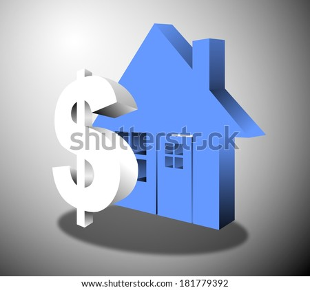 Blue house supported by a dollar sign in 3 dimensions - stock photo