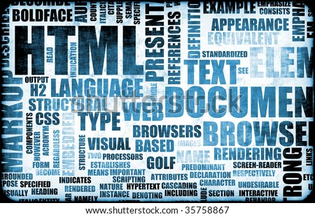 Blue HTML Script Code as an Background - stock photo