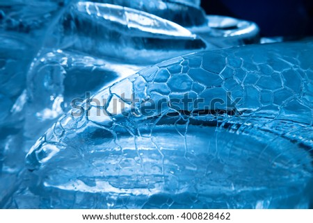 Blue ice. Abstract texture for winter background