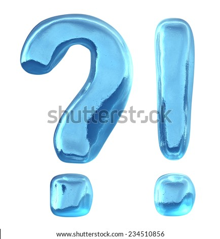 Blue ice alphabet, question mark and exclamation mark isolated on white background - stock photo
