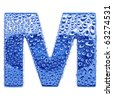 Blue ice alphabet symbol - letter M. Water splashes and drops on glossy metal. Isolated on white - stock photo