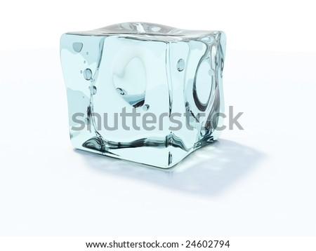 Blue ice cube isolated on white - stock photo