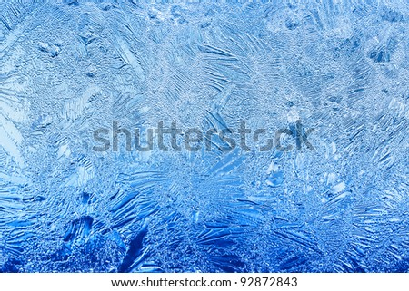 Blue Ice flower frosting on a window - stock photo