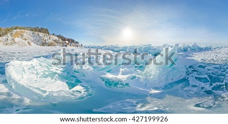 Blue ice hummocks Baikal stereographic panorama little planet