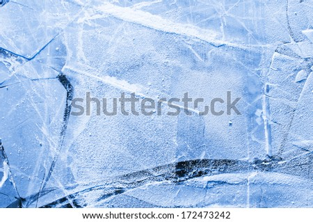 Blue ice on frozen river - stock photo