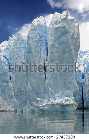 Blue ice on the Grey glacier - stock photo