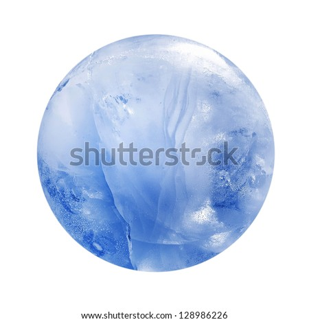 Blue ice sphere isolated - stock photo
