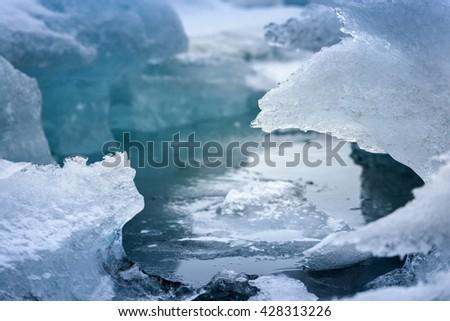 Blue icebergs closeup - stock photo