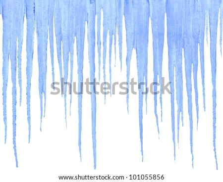 Blue icicles isolated on white - stock photo