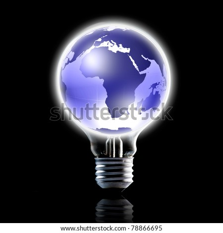 blue icon globe on light bulb. Concept for world wide connection. Data source: NASA - stock photo