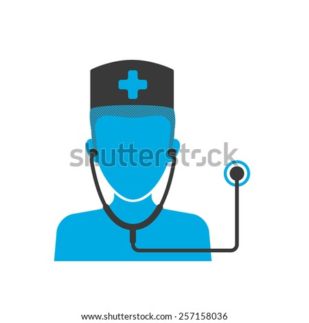 Blue icon of doctor wearing hat with stethoscope - stock photo