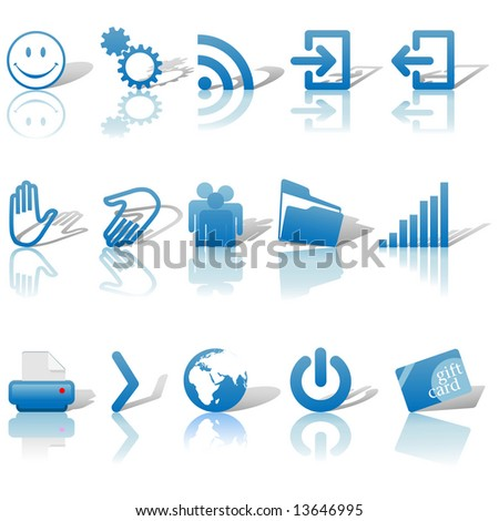 Blue Icon Symbol Set 2: Printer; Gears; Chart; Earth; People; RSS; etc. On white with shadows & reflections. Includes clipping paths.