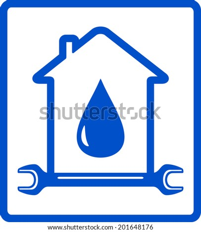 blue icon water in home, plumber symbol