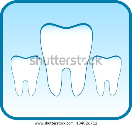blue icon with set tooth - dental clinic symbol - stock photo