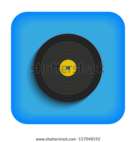 Blue icon with the image of a vinyl record - stock photo