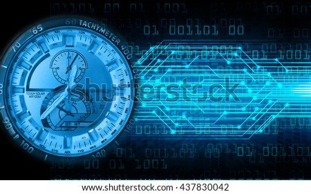 blue illustration of technology internet network computer background with binary number, style. infographics. Information. motion blur. pixel. Binary digit. number. Odometer,clock, watch, cyber - stock photo