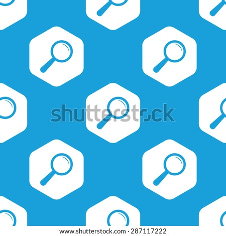 Blue image of loupe in white hexagon, repeated on blue