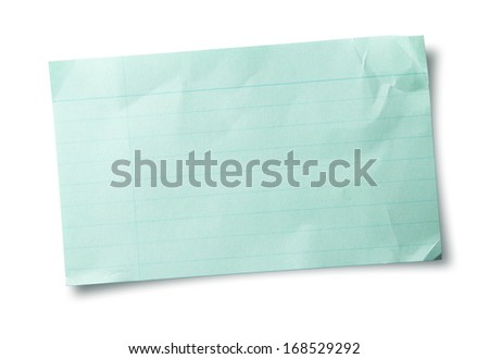 Blue index card or recipe card isolated on white. with folds and bent (warped) corners.